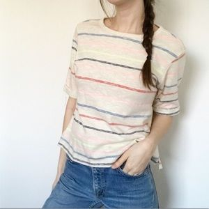 Anthro Postmark Striped Cropped Top